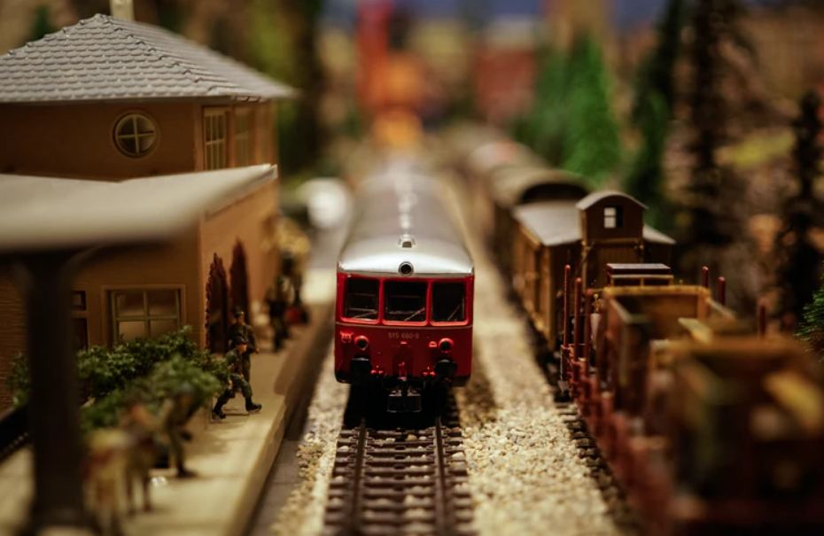 a miniature model train
