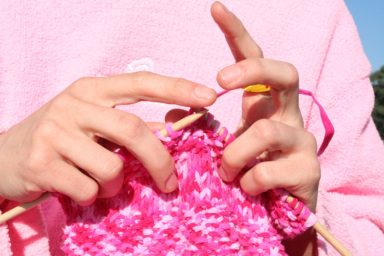 Close-up photo of knitting