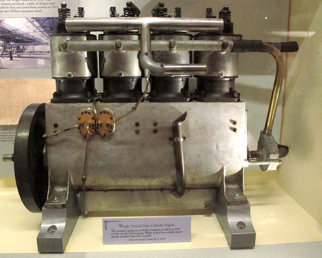A Wright vertical 4-cylinder engine