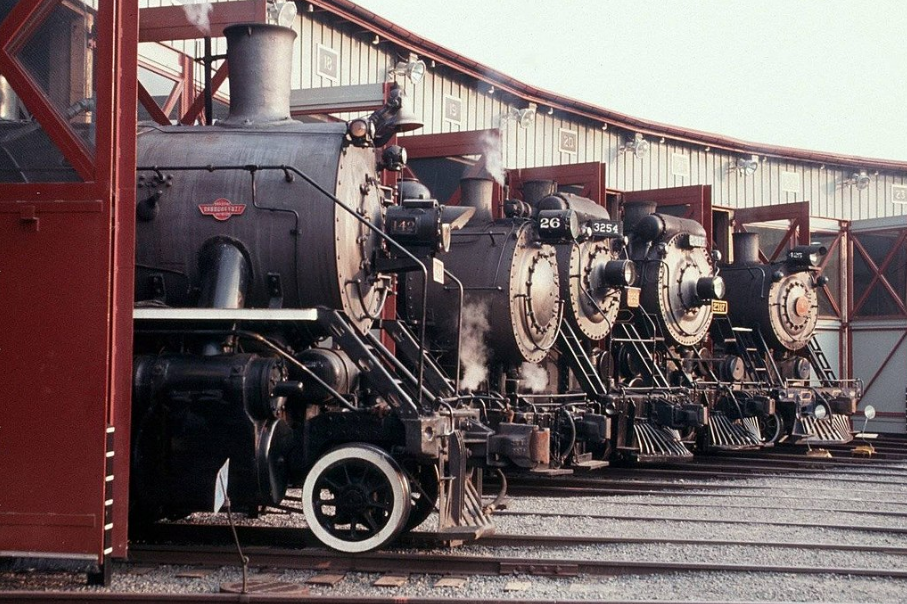 'Five in the Roundhouse' a National Park Service photo from the Steamtown National Historic Site website