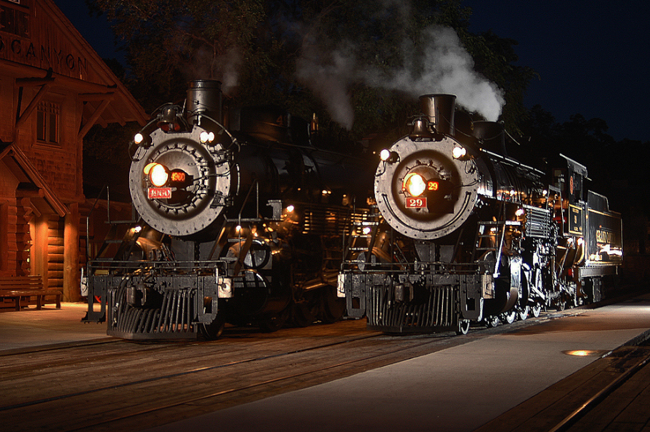 Steam locomotives in a rare joint appearance at Grand Canyon Depot, 2005.